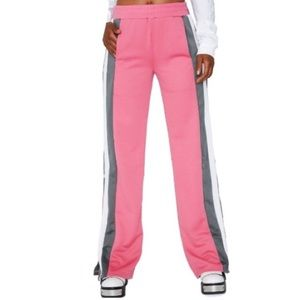 Pants - Pink and gray snap track pants
